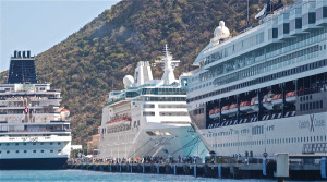 Three cruise ships at the Philipsburg pier in St. Martin. Photo: Jonathan Tourtellot