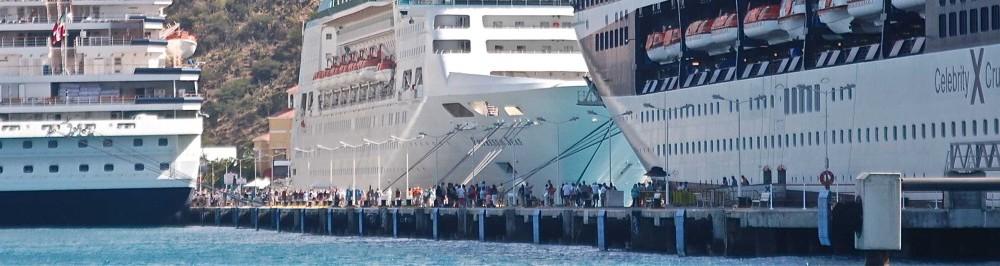 Three cruise ships at the Philipsburg pier in St. Martin. Photo: Jonathan Tourtellot