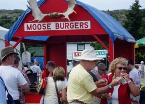 Summer festivals are one place to find Newfoundland's delicious but scarce mooseburgers. Photo: Jonathan Tourtellot