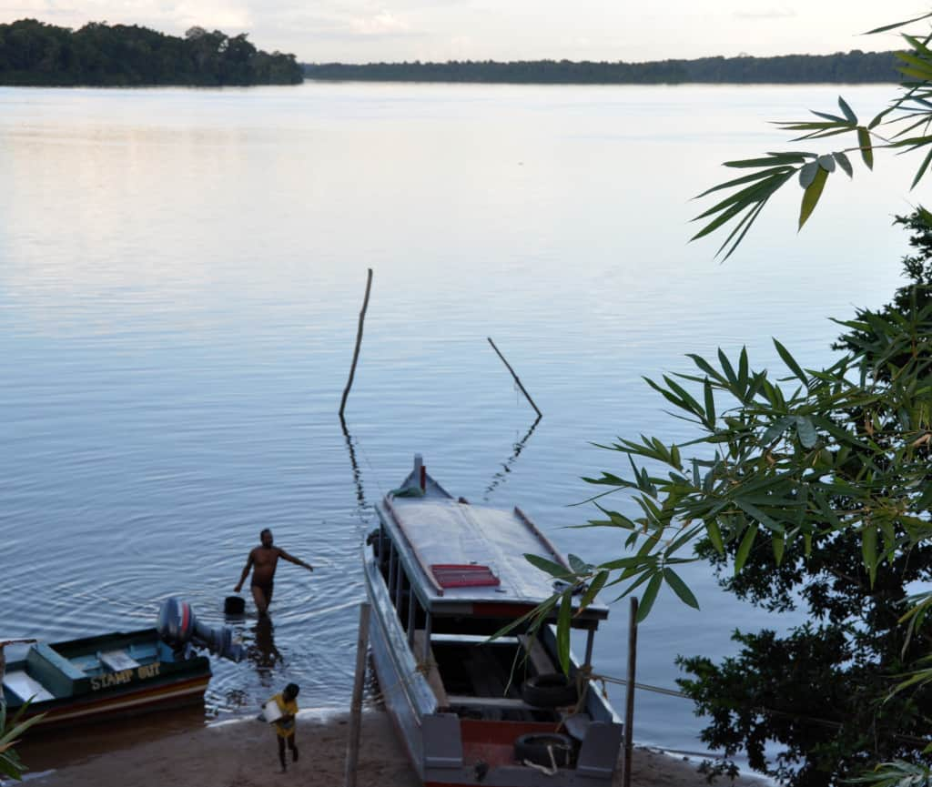 Amerindian residents of Orealla rely on the river for their daily life.