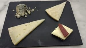 Cheeses from various regions in Spain (My favorite: a cow's milk cheese from Galicia, accompanied by a sliver of quince paste, on the lower left).
